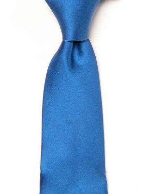 Creme DE LA creme Solid Medium Blue Silk Tie