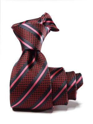 Kingsford Stripes Dark Maroon Polyester Tie
