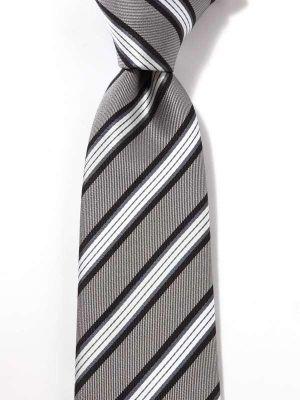 Kingsford Stripes Dark Grey Polyester Tie