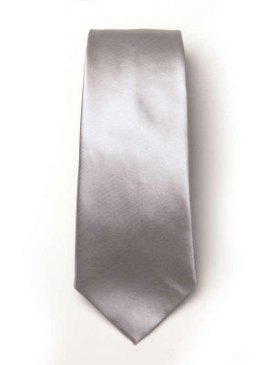 Kingston Slim Plain Light Grey Polyester Tie