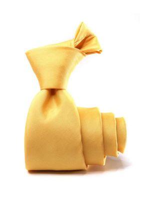 Kingston Slim Plain Light Yellow Polyester Tie