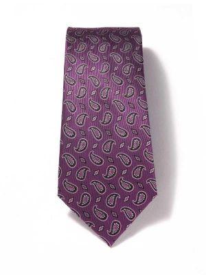 Panaro Paisleys Dark Purple Silk Tie
