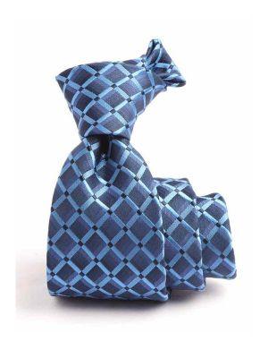 Panaro Checks Dark Blue Silk Tie