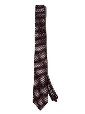Saglia Printed Navy Silk Tie