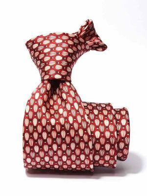 Saglia Printed Dark Maroon Silk Tie