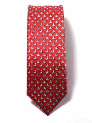 Saglia Printed Medium Red Silk Tie