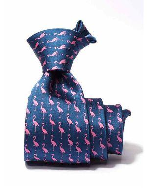 Saglia Printed Dark Blue Silk Tie