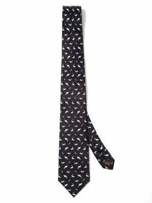 Saglia Printed Dark Black Silk Tie