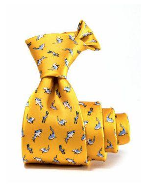 Saglia Printed Gold Dark Silk Tie