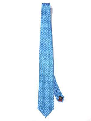 Saglia Printed Medium Blue Silk Tie