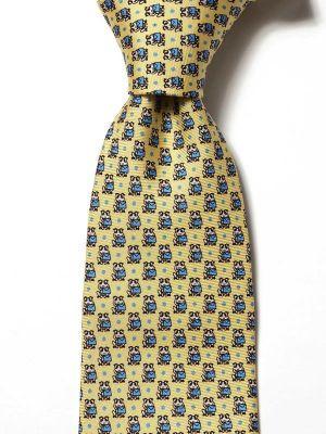 Saglia Printed Dark Yellow Silk Tie
