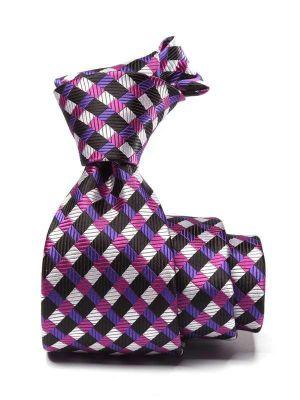 Savona Checks Dark Purple Polyester Tie