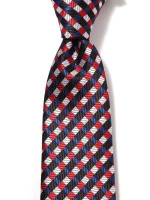 Savona Checks Dark Red Polyester Tie