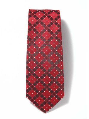 Savona Checks Medium Maroon Polyester Ties