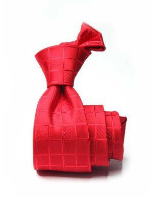 Savona Checks Medium Red Polyester Ties