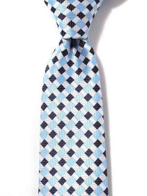 Savona Checks Light Blue Polyester Tie
