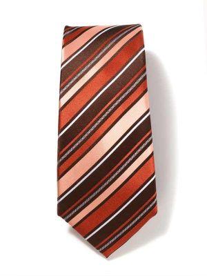 Sicilia Stripes Dark Orange Silk Tie