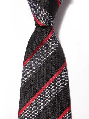 Sicilia Stripes Dark Black Silk Ties