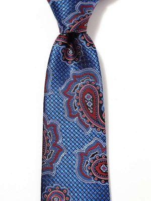 Torino All Over Medium Blue Silk Tie