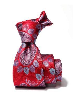 Torino All Over Medium Red Silk Tie