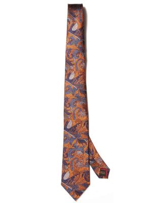 Torino All Over Dark Orange Silk Tie