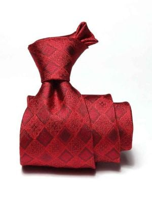 Torino Slim Checks Dark Red Silk Ties