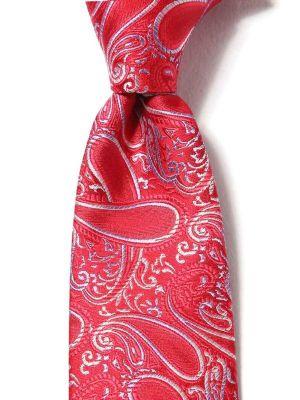 Torino Slim Paisleys Dark Red Silk Ties