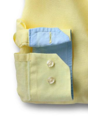 Safin Yellow Blended Casual Solids Shirt