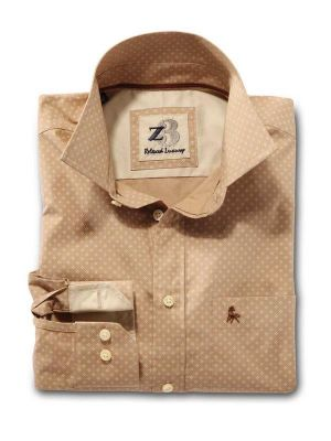 Purl Beige Cotton Casual Printed Shirt