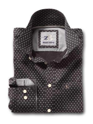 Stout Black Cotton Casual Printed Shirt