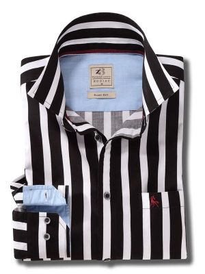 Sevilla Black Casual Stripe Shirt