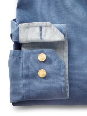 Sancho Blue Cotton Casual Solid Shirt