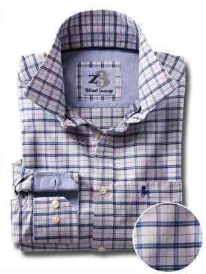 Dunham Blue Cotton Casual Checks Shirt