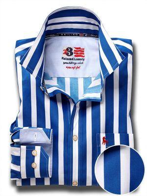Sevilla Blue Cotton Casual Striped Shirt