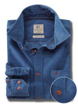 Rodeo Blue Cotton Casual Corduroy Shirt