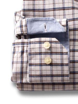 Dunham Oxford Brown Casual Check Shirt