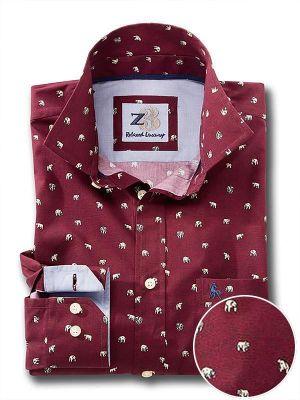 Polar Burgundy Cotton Casual Printed Shirt