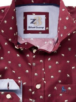 Polar Burgundy Casual Conversational Printed Shirt