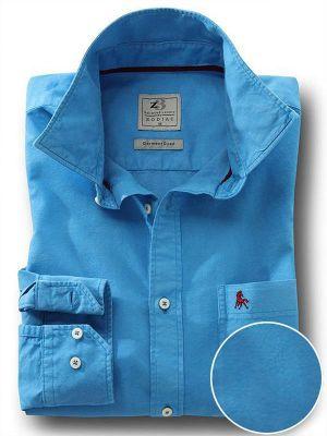 Marbella Oxford Cobalt Casual Solid Shirt