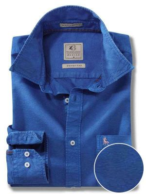 Manchester Cobalt Cotton Casual Solid Shirt