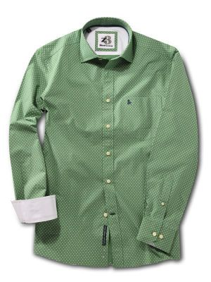 Lager Green Cotton Casual Printed Shirt