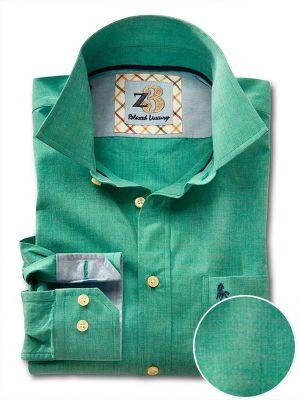 Sancho Green Cotton Casual Solids Shirt