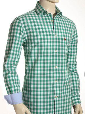 Cordoba Green Cotton Casual Checks Shirt