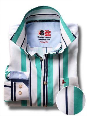 Ronda Green Cotton Casual Stripes Shirt
