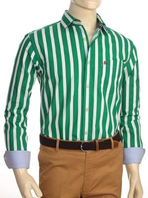 Sevilla Green Cotton Casual Stripes Shirt