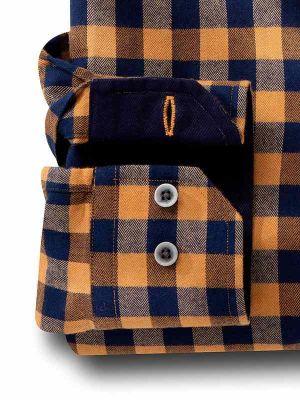 Vesper Mustard Cotton Slim Fit Casual Checks Shirt