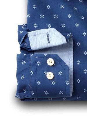 Silva Navy Cotton Casual Prints Shirt