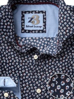 Sunflower Navy Cotton Casual Printed Shirt