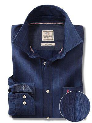 Duvall Indigo Navy Cotton Casual Stripes Shirt