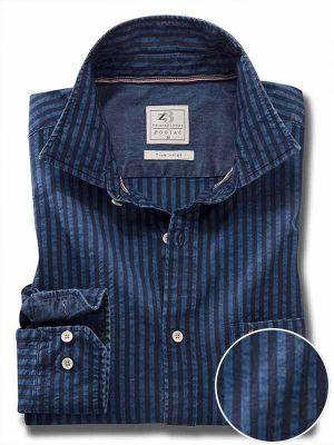 Elliot Indigo Navy Cotton Casual Stripes Shirt